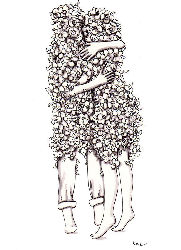 flower couple embrace